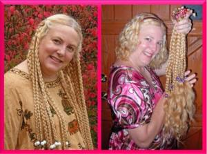 Before and after shot of Debbie Dunn's hair before donating 24 inches of hair