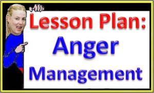 Deb holds Anger Management Lesson Plan Sign