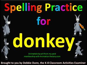 Spelling practice for donkey CLIP